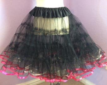 Black tulle petticoat with pink and white ribbon trim