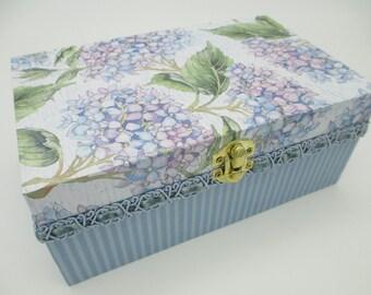 Purple- Blue Flowered Keepsake Box - Wooden Keepsake Box- Wooden Memory Box- Hydrangea- Birthday Letters - 1st. Birthday -Time Capsule
