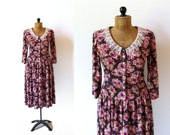 vintage dress 90's romantic floral print lace collar eggplant purple 1990's women's clothing size medium m