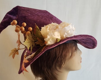 "On Sale Now 50% Off! Sleek Purple Velvety Scrunched Witch/Wizard Hat with Cord and Bouquet sizes ""S"" and ""M"""