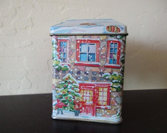 80s vintage DECORATIVE TIN with lid -house, snow, Christmas, made in Hong Kong