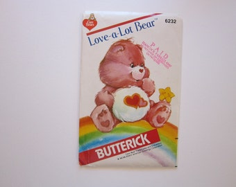 vintage CARE BEARS pattern - Butterick 6232 - circa 1983 - uncut, factory folded - Love-A-Lot Bear