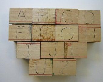 13 vintage DOTTED LETTER alphabet stamps