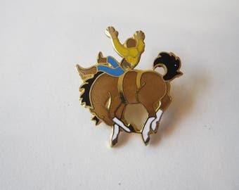 vintage enamel pin - BUCKING BRONCO - enamel pin