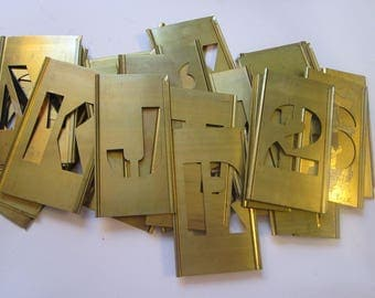 32 vintage BRASS STENCILS - 2 inch letters and numbers - lettering stencils