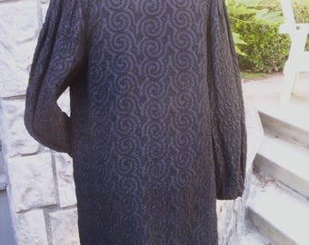 Fabulous 1930's designer, black soutache Opera Coat clutch closing, lightweight, fits S/M/L