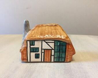 Vintage china cottage, vintage cottage figurine, ceramic miniature cottage, made in england, miniature house figurine, miniature figurine
