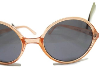 Vintage Clear Orange Hippy Sunglasses, Retro Round Eyeglasses, John Lennon Style Sun Glasses, Retro Vintage Sunglasses, Hipster Style