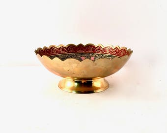 Brass Bowl with Colourful interior design with Birds