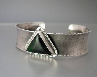 Green Maw Sit Sit Triangle and Sterling Silver Anticlastic Cuff Bracelet - One of a Kind and Ready to Ship
