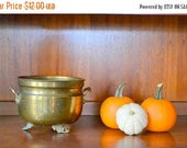 SALE 25% OFF vintage brass cauldron / vintage planter / halloween decor / metal pot / rustic home decor