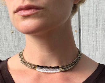 Elegant Pyrite Beaded Choker Necklace | Gold Beaded Necklace | Boho | Rocker | Bridesmaid Jewelry | Wedding Jewelry | Gifts for Her