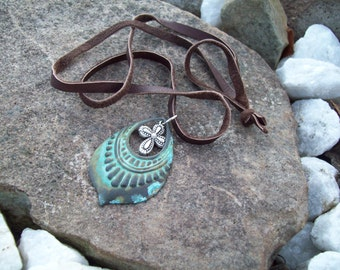 Rustic Boho necklace, Patina pendant with silver cross charm,  brown suede cord necklace