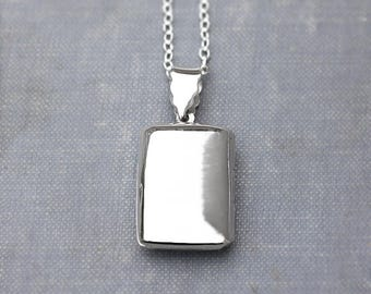Plain Rectangle Sterling Silver Locket Necklace, Smooth Modern Photo Keeping Pendant - Memory Box