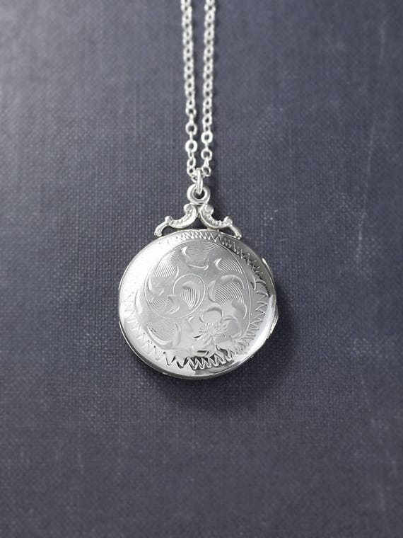 Birks Sterling Silver Locket Necklace, Small Round Vintage Photo Pendant - Family Heirloom