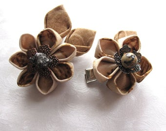 Jurassic Classic Kanzashi Flower Hair Clips with Meteorite