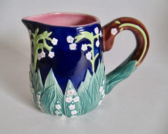 "Vintage Majolica Flowers Pitcher Hand Painted 4 1/4"" Tall Cobalt Blue with Pink Interior Home Decor"