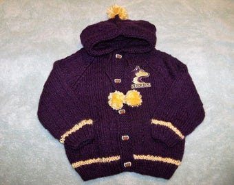 Purple with Gold Accents Hoody //// Husky Applique