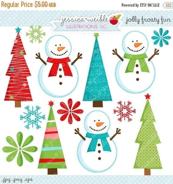 ON SALE Jolly Frosty Fun Cute Digital Clipart - Commecial Use OK - Snowman Clipart, Christmas Graphics, Snowman Graphics, Digital Art