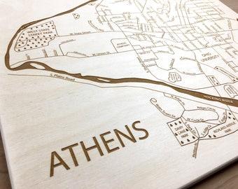 Athens Ohio Map - Ohio University Graduation Gift For Goddaughter Birthday Wedding Anniversary Present Custom Engraved Laser Cut Etched