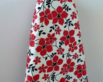 Ironing Board Cover - red dainty flowers on white