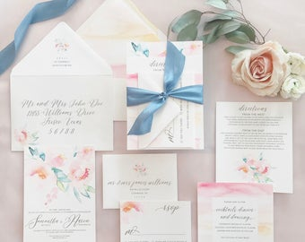 Samantha Floral Watercolor Wedding Invitation Suite with 100% Silk Ribbon Band - Blush Pink, Greenery, Blues
