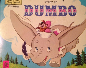 Walt Disney Vintage Book Record Read-along Dumbo