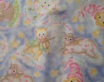 Hey Diddle Diddle Nursery Rhyme Cotton Quilting Fabric