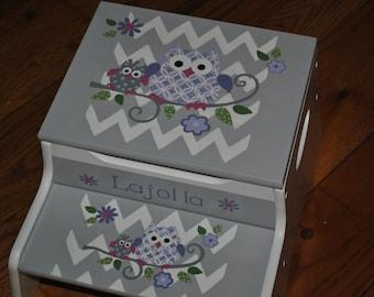 New For 2017-Children's - Custom Hand Painted - Owl Family - Girls Step Stool -Baby Shower Gift -Nursery Furniture -Child Chair-Baby Gift