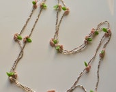Molded Glass Flower and Seed Bead Necklace Long Necklace Pink Flowers