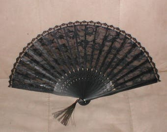 Vintage BLACK Lace Folding Fan