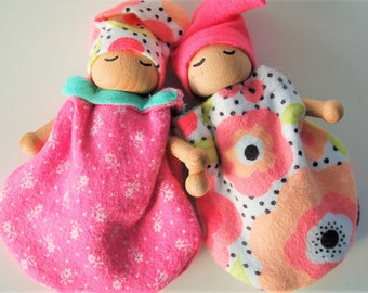 Baby Dolls- Set Of Two - Bendable Arms and Legs -Unique Gift - Waldorf Style - Baby Gnome Orange And Pink - Poppies