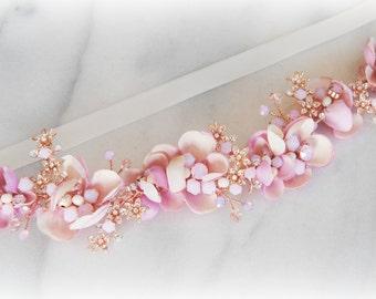 Blush and Purple Skinny Sash, Rose Gold Bridal Sash, Flower Wedding Belt with Swarovski Crystals and Pearls  - MON AMOUR