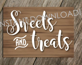 5x7 PRINT @ HOME - Wedding or Event Sweet Dessert Table Sign Instant Download
