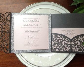 Laser Cut Pocket Fold Shimmering Grey Square Pocket Fold - LACE SWIRLS - *Sample* with Silver Glitter Wedding Invitation with RSVP
