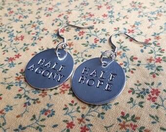 Half Agony Half Hope Handstamped Aluminium Earring Set