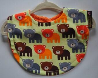 Baby Boy Lime Green,Orange, Grey, Brown Bear Terry Cloth Snap Bib