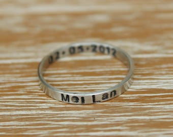 Single Stamped Personalized Ring - Sterling Silver