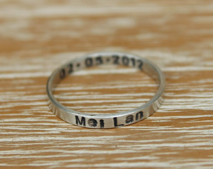 Single Stamped Personlized Ring - Sterling Silver