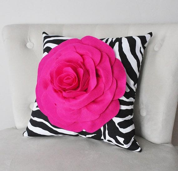 Hot Pink Rose on Zebra Pillow 14x14 Home Decor Pillows Girls Room Decor, Nursery Decor, Safari, Zoo Adventure Bedroom Decor