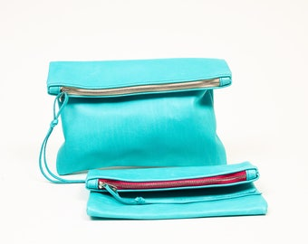 aqua blue leather clutch - fold over clutch - cross body clutch - aqua blue leather pouch -  blue leather bag - small leather clutch