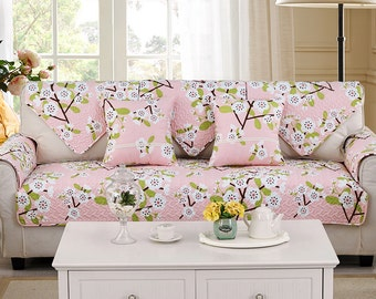 Plum Blooms Sofa Cover Couch Slipcover Loveseat Cover Cotton Pink Green White Home Decor