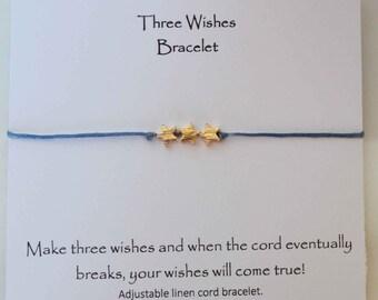 three wishes bracelet, star adjustable cord bracelet, star charm bracelet, star wish bracelet, wish upon a star bracelet, 3 wishes bracelet