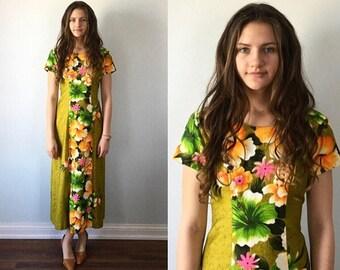 Vintage 1970s Lounge Dress, Summer Dress, Casual Dress, Penny's Hawaii, Vintage Dress, Resort Wear, Green Floral Dress, Summer