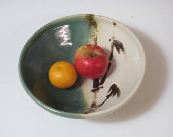 Serving bowl / pottery / handmade / ceramic / stoneware / green / hand painted bamboo / kitchen / wheel thrown / home decor / fruit bowl