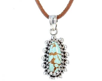 TURQUOISE #8 MINE PENDANT Necklace Teardrop #2 NewWorldGems