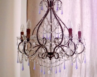 Murano lilac glass drops chandelier, wrought iron birdcage chandelier, Macaroni beads, beaded chandelier