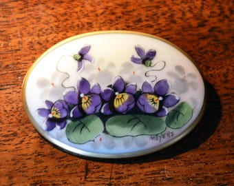 SALE Victorian porcelain brooch/ hand painted brooch/signed Meyers /antique brooch/purple violets/ pictorial brooch pin