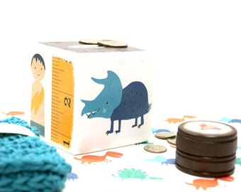 Cool Kid Piggy Bank, Wooden Banks, Money Box, Cash Box, Tire Lire, Dinosaur, Dog, Boy, Toddler Gift set, Fox, Creative Kids, Savings, Bank
