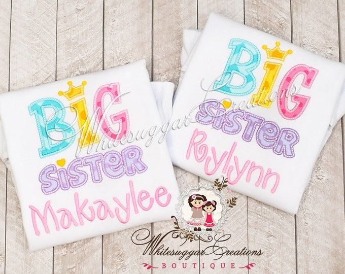 Personalized Big Sister Applique Shirt - Personalized Sisters Shirt - Birth announcement